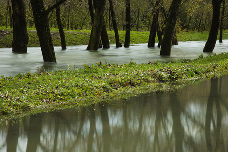 Floods - river overflows its banks and flooded forest and field