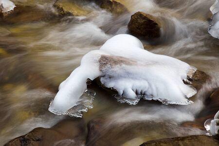 Ice on frozen rocks on River - Water motion