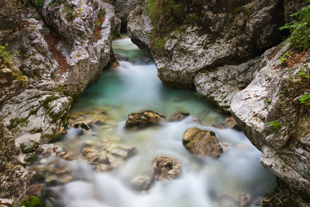 Mountain river Moznica - flowing water in rocky gorges, Moznica Valley, Slovenia, water background, turquoise water, mountain river, stream, Soca valley, Triglav national park, Europe Imagens