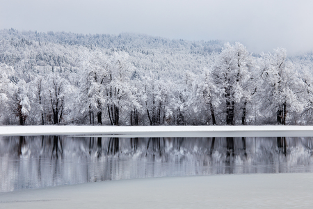 Winter landscape background with beautiful reflection in the water, Planina, Slovenia