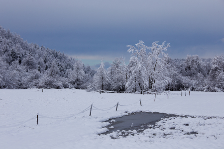 er landscape with lake, ice and snow, Planina, Slovenia