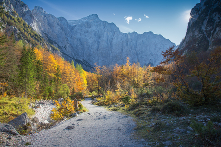 Mountain Triglav in autumn from Vrata Valley, Triglav National park, Slovenia Imagens