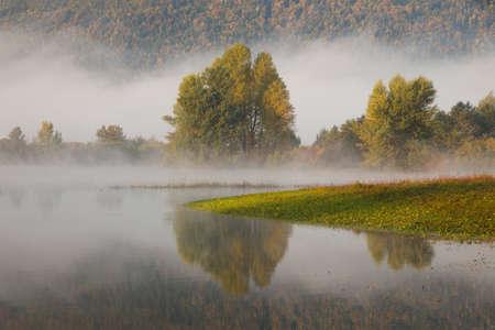Misty Lake in autumn morning, Lake Cerknica, Slovenia