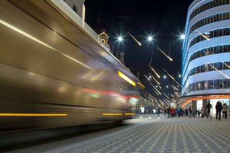 Night Traffic City Sceene with Light Trails - Ljubljana Slovenia