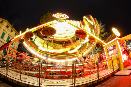 Ferris wheel in the night - luna park. 報道画像