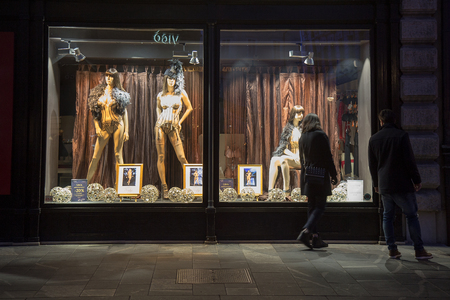 Storefront Window Display Sexy Lingerie by Night, Ljubljana, Slovenia