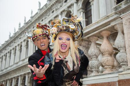 Lovely Couple of Vampires - Venice Carnival, St. Mark's Square, Venice, Italy