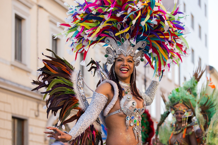 Brazil Lady dancing Samba on the streets of city carnival, Monfalcone, Italy Editorial