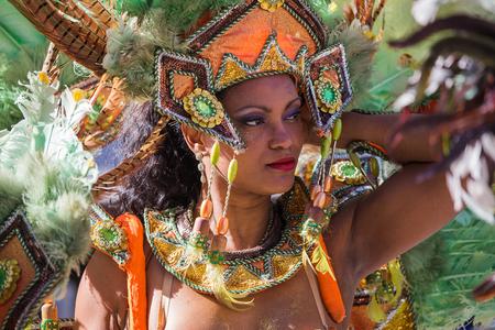 Beautiful Samba Brazil dancer portrait on the streets of city carnival, Monfalcone, Italy 報道画像