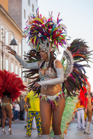 Beautiful Brazil Women dancing Samba on the streets of city carnival, Monfalcone, Italy