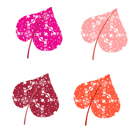 Colored leaves hearts. Vector. Vector Vector