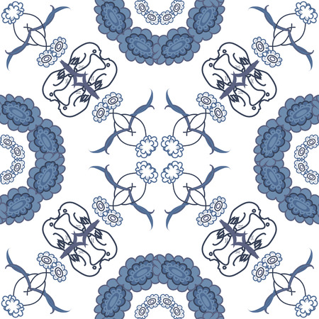 symbolical: Seamless floral background, blue symbolical silhouette flowers on white. Vector Illustration
