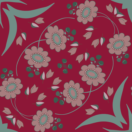 burgundy background: Gray flowers on burgundy background pattern.