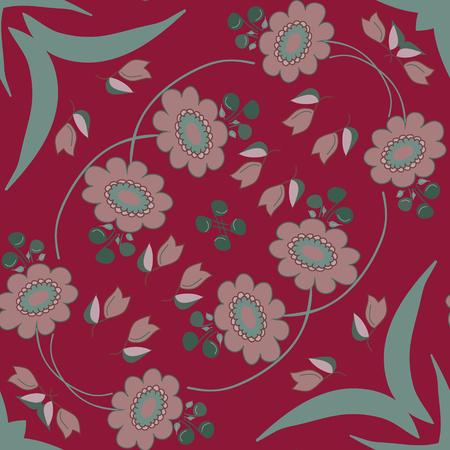 burgundy background: Gray flowers on burgundy background pattern.