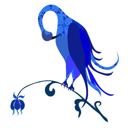 feathering: Fancy exotic bird. Vector art. Beautiful blue bird on a flower