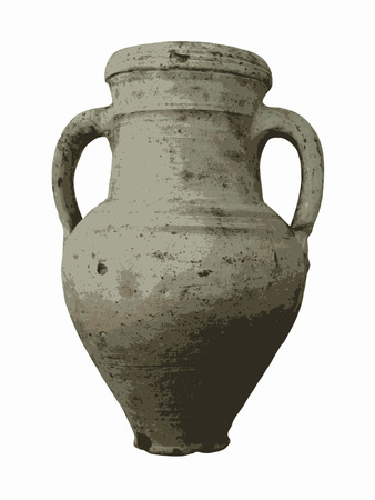 potter: Old clay vase isolated illustration on white background.