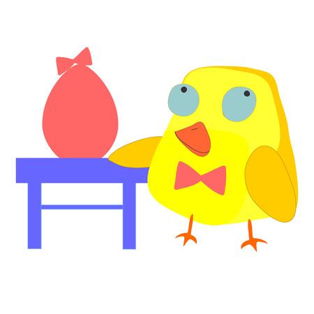 poult: Polluelo feliz de dibujos animados y huevo.