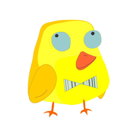 baby chicken: Cute little yellow cartoon baby chicken isolated on a white background.