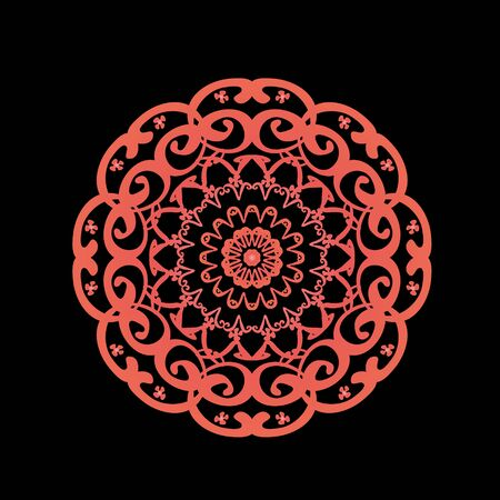 Circular orange pattern on black background Illustration