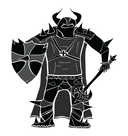 Knight with sword and shield detailed vector silhouette.