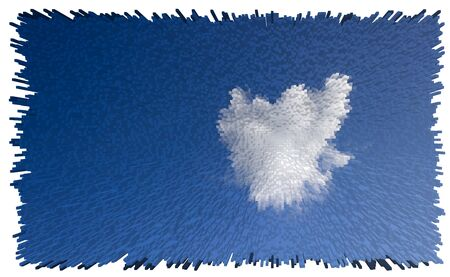 Heart shaped clouds in the blue sky with 3D extrude effect. Imagens