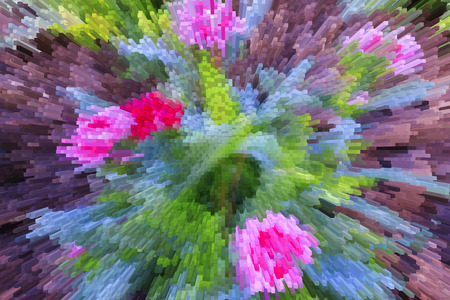 Pink flowers with 3D extrude effect.