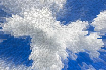 blue 3d blocks: Blue sky 3D extrude blocks pattern background, Abstract blue sky background.