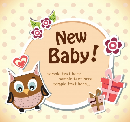 Baby shower owl card Stock Vector - 18685357