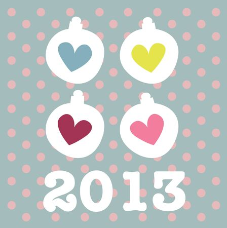 New Year card with cute hearts Stock Vector - 18726254