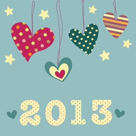 New Year card with cute hearts Stock Vector - 18734726