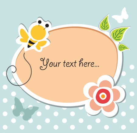 bee birthday party: vector baby shower card