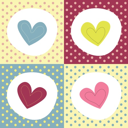 nice day:  colorful hearts on polka dot background