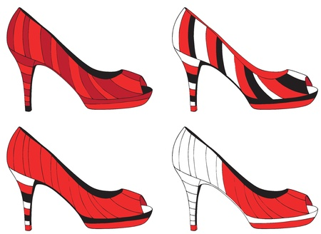 high heel red shoes Stock Vector - 18726425