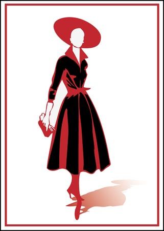 catwalk model: Fancy silhouette Illustration