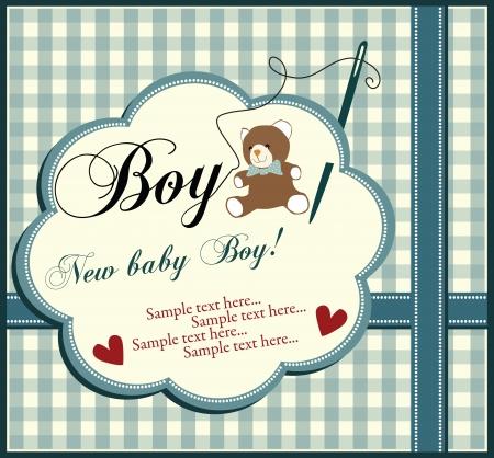 cute baby boy: Baby boy shower invitation card
