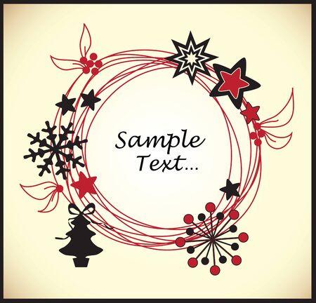 Christmas wreath card template Stock Vector - 18759603