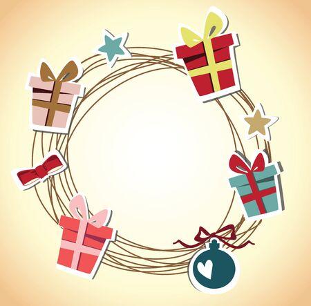 Christmas wreath card template Stock Vector - 18759616