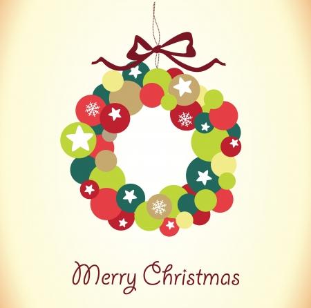 Christmas wreath card template Stock Vector - 18759619