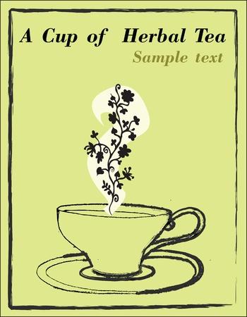tea rose: a cup of tea,illustration