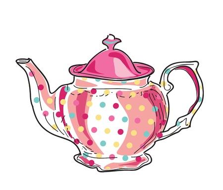 comida inglesa: ilustraci�n de la hermosa olla de t� de cer�mica