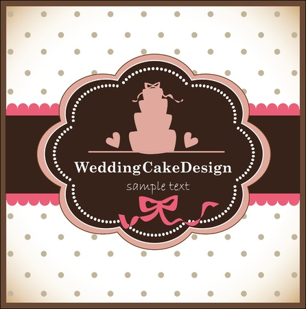 card with sweet wedding cake Vector