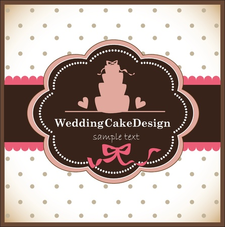 card with sweet wedding cake Illustration