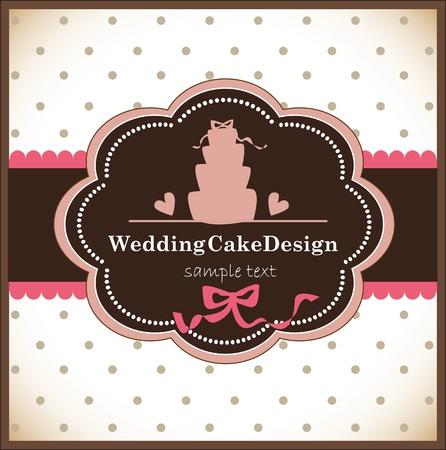 card with sweet wedding cake Illustration