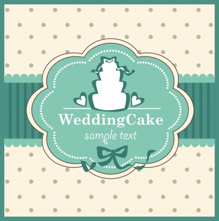 card with sweet wedding cake Stock Vector - 18760223