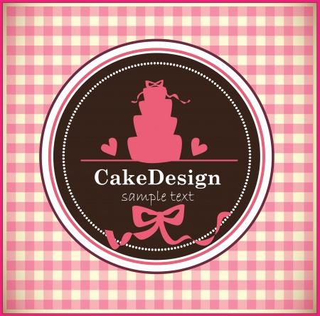 wedding cake: card with sweet wedding cake Illustration