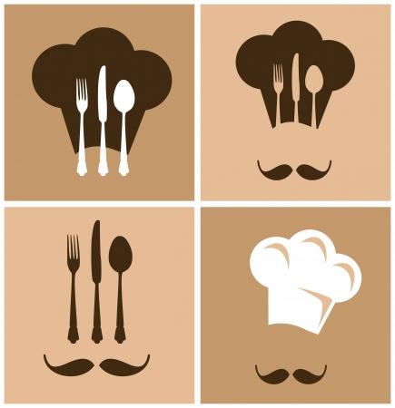 Cappello da cuoco con coltello forchetta e cucchiaio di design