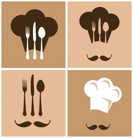 Chef hat with fork knife and spoon design Vector