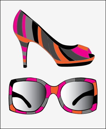 Sunglasses and fashion shoes Stock Vector - 18760282