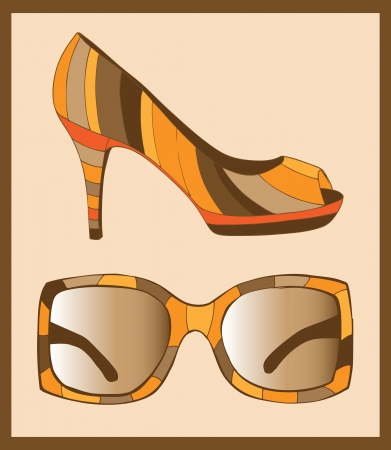 Sunglasses and fashion shoes Stock Vector - 18760236