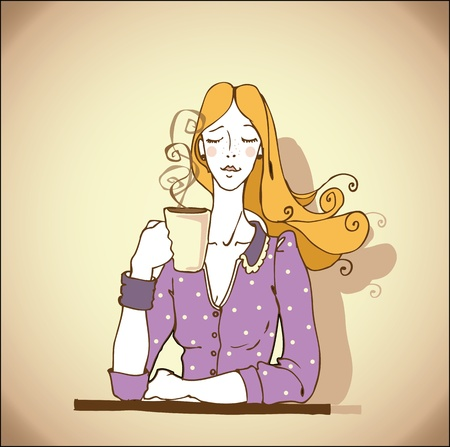 girl with a coffee  Vector